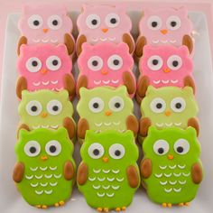 Owl Sugar Cookie Favors (12 favors, bagged and bowed).via Etsy.