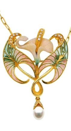 Diamond, pearl, plique-à-jour enamel, enamel and gold pendant/brooch on a gold necklace, by Lalique.