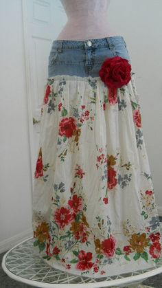 Belles Roses bohemian jean skirt Renaissance Denim Couture long flowy boho gypsy faerie Made to Order Sewing Crafts, Sewing Projects, Vintage Sheets, New Fashion Trends, Diy Fashion, Fashion Ideas, How To Make Skirt, Cute Skirts, Jean Crafts