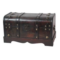 This decorative treasure box is gonna fill any empty place in your home or heart. This chest is decked out with brass colored hardware, distressed like it's been sitting in Davy Jones' locker.