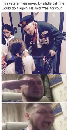 This veteran was asked by a little girl if he would do it again. Really Funny Memes, Stupid Funny Memes, Funny Relatable Memes, Hilarious, Sweet Stories, Cute Stories, Foto Top, Human Kindness, Touching Stories