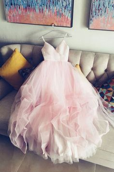 Simple v neck tulle pink prom dress, pink tulle evening dress,spaghetti straps bride dresses