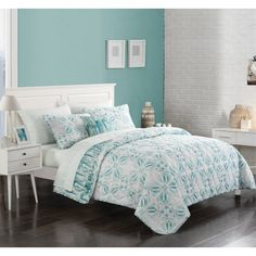 Hit the refresh button on your sleep space by dressing your bed in the Jade Quilt In A Bag by Mainstays . Its teal, watercolor-inspired medallions. Twin Xl Bedding, King Bedding Sets, Quilt Bedding, Comforter Sets, Teal Bedding, Coastal Bedding, Bed In A Bag, Bedding Sets Online, Teen Girl Bedrooms