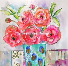 Peonies in a Vase   Original Watercolor Painting  by LImezinnias Design,