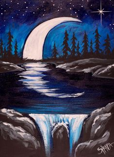 Mond und Wasserfall nachts Einfache Malerei im Acryl - The Art Sherpa Free Acrylic Art Lesson Gallery - Kunst Easy Canvas Painting, Moon Painting, Acrylic Painting Tutorials, Easy Paintings, Painting & Drawing, Canvas Art, Acrylic Art Paintings, The Art Sherpa, Waterfall Paintings