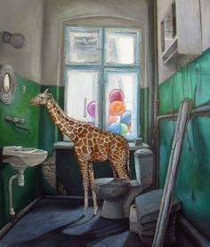 AT THE WATERHOLE | 66 x 77 cm | Acrylic Paint, Oil and Watercolour Pencils On Hardboard | ® Krzysztof Polaczenko 2015