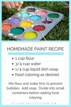 This DIY paint recipe is just as much fun to make as it is to paint with. It only requires three simple household ingredients so it's not too precious to let kids help. Let your little artist… Fun Crafts For Kids, Summer Crafts, Toddler Crafts, Crafts To Do, Preschool Crafts, Projects For Kids, Diy For Kids, Summer Fun, Craft Projects