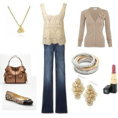 i don't wear much gold, but i could do this...too cute and very chic