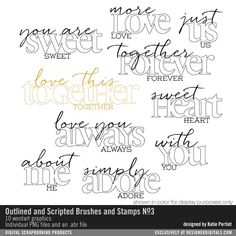 Outlined and Scripted Sentiments Brushes and Stamps No. 03- Katie Pertiet Brushes- DS362878- DesignerDigitals