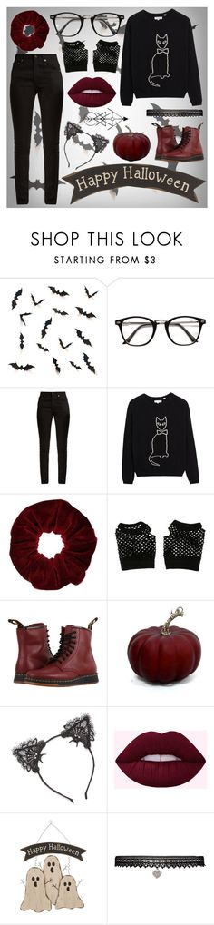 """""""Back in Time for Halloween"""" by fiona137 ❤ liked on Polyvore featuring Yves Saint Laurent, Miss Selfridge, Hot Topic, Dr. Martens, True Craft, Glitzhome and Betsey Johnson"""