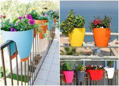 Hervorragend Balkon Ideen Balkontopf Gelaender Blau Gelb Orange Rosa Schwarz