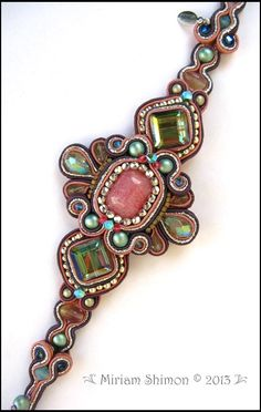 Pink Aqua Green Soutache Beaded Bracelet от MiriamShimon на Etsy