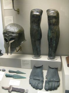 Greek Corinthian helmet, greaves, foot armour, the javelin tips and part of a sword or dagger. Ancient Artefacts, Ancient Civilizations, Greek History, Ancient History, Greek Artifacts, Greek Helmet, Greek Soldier, Roman Armor, Helmet Armor