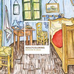 Bedroom in Arles (1888) by Vincent van Gogh adult coloring page | free image by rawpixel.com Arte Van Gogh, Van Gogh Art, Free Adult Coloring Pages, Cute Coloring Pages, Colouring, Bedroom In Arles, Pantone Colour Palettes, Van Gogh Paintings, Free Illustrations