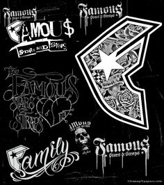 Famous Stars Photos and Pictures Music Tattoos, Body Art Tattoos, Letterhead Design, Logo Design, Rhino Pictures, Psycho Quotes, Skateboard Logo, Fancy Writing, Famous Stars And Straps