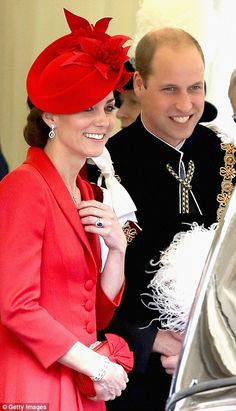 A knight to remember: Kate and Wills join Her Majesty for the annual Garter Day service as crowds line the roads around Windsor Castle despite the rain | Daily Mail Online