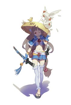 ✧ #characterconcepts ✧ Girl samurai of  bamboo hat by lascalis on @deviantART