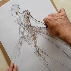 Pens, metallic pastels, acrylics & glitter… Fashion Illustration video by VROSS - Dress Design Sketches, Fashion Design Sketchbook, Fashion Design Drawings, Fashion Sketches, Clothing Sketches, Fashion Drawing Tutorial, Fashion Figure Drawing, Fashion Drawing Dresses, Drawing Fashion