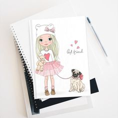 Journal Notebook Girl with her Dog Best friend Dog Best Friend, Best Friends, Journal Notebook, Craft Supplies, Handmade Gifts, Dogs, Etsy, Kisses, Beat Friends