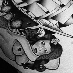 Neo traditional, hand drawn, artistic, black and grey, tattoo, ship, lady, sails, woman, sea, creative, detailed
