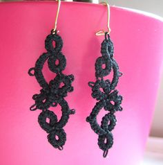 Tatted Earrings  Gothic Black Cotton Lace Scroll by spritzyfitzy, $18.00