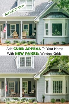 Learn how to add curb appeal to your home with New Panes Creations window grids. #diywindowgrids #windowgridinserts #windowgridstyles #windowpanes #curbappealonabudget #curbappealideas #worthigcourtblog #curbappealbeforeandafter #paintedbrick #grayhouseexterior #baywindows #farmhouse #modernfarmhouse #grayhouse