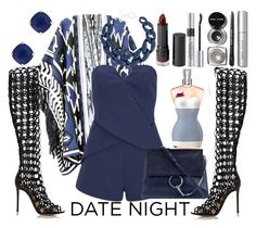 """""""Navy"""" by emilychieng ❤ liked on Polyvore featuring Gianvito Rossi, DIANA BROUSSARD, Kate Spade, Finders Keepers, Chloé, Bobbi Brown Cosmetics, Monki, Christian Dior and Jean-Paul Gaultier"""