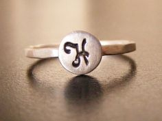 Initial ring , stamped ring , initial stacking rings ,,  silver ring ,  personalized ring. $19.00, via Etsy.