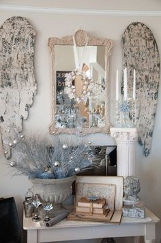 Vintage winter decor ~ a great idea for Angel Wings! Love this Vignette Blue Christmas, Shabby Chic Christmas, After Christmas, Christmas Note, Cottage Christmas, Victorian Christmas, Christmas Christmas, Christmas Ornaments, Cozy Cottage