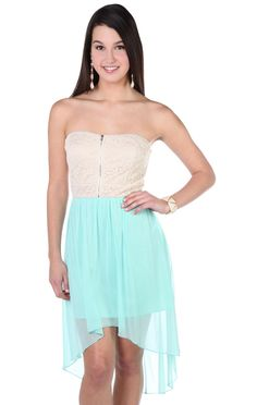 Deb Shops #mint chiffon strapless high low dress with lace bodice