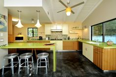 contemporary kitchen by Alison Glen Designs; I like the color and the zebra finish on the cabinets; not so much with the white cabinets added in.