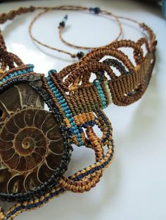 Ammonite Macrame Necklace Handmade with by PapachoCreations