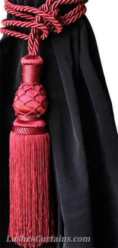 Architecture Decor | Curtains, Fabrics, Pillows & Rugs | Rosamaria G Frangini || Beautiful Elegant Vintage Look Decor Handmade Burgundy Color Window Treatment Hardware Curtain Drape Drapery Tassel Rope Tie back/Holdback