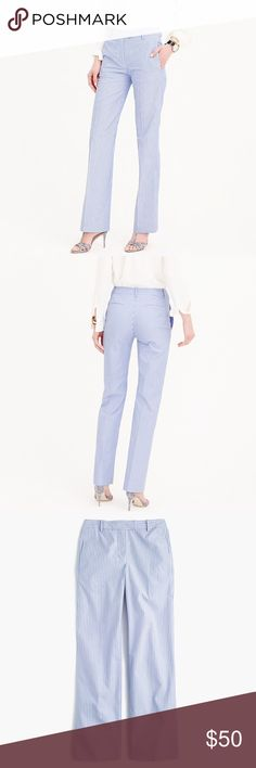 """J. Crew Petite Striped Cotton Pant in Pond Blue J. Crew Petite Striped Cotton Pant in Pond Blue, size 10 Petite, LIKE NEW!  Worn once then dry cleaned (only selling because they no longer fit).    PRODUCT DETAILS  """"These full-length striped cotton pants are soft, easy, comfortable—perfect for whatever's on your warm-weather agenda.""""  Cotton. J. Crew Pants Trousers"""
