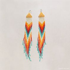 Chevron Beaded Earrings Native Style Extra Long Fringe by ziguidi, $140.00