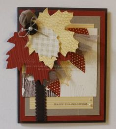 Card by Holly Krautkremer  (121912)    [Stampin' Up!  (dies)  Autumn Accents; (embossing folder)  Woodgrain;  (stamps)  Teeny Tiny Wishes, Wonderfall, Woodgrain Background]