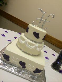Purple double heart wedding cake