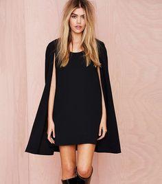 Nasty Gal Catherine Cape Dress in Black