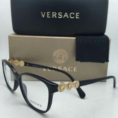 12b9d345cd74f Versace Eyeglasses Versace Eyeglasses New and Authentic Black frame with  gold and crystals Includes original case Versace Accessories Glasses.  Designer ...