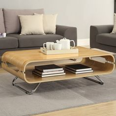 Jual Curve Oak Coffee Table crafted with a unique wood curving process Coffee Table With Shelf, Coffee Table Rectangle, Oak Coffee Table, Coffee Table Wayfair, Oak Table, Contemporary Coffee Table, Modern Coffee Tables, Oak Dining Room, Beds Online