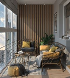 Interior Balcony, Apartment Balcony Decorating, Balcony Furniture, Apartment Interior, Home Room Design, Home Interior Design, Living Room Designs, Living Room Decor, House Design