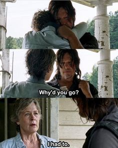 "Carol and Daryl. The Walking Dead S07 E10 ""New Best Friends"". Season 7 Episode 10. #caryl"