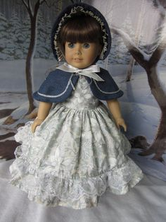 Silver and White Poinsettias Dress with Cape and Bonnet for