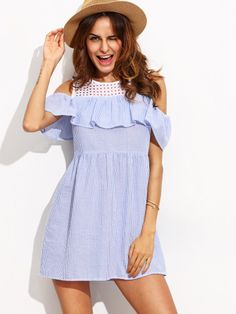 Blue Striped Cold Shoulder Ruffle Shift Dress