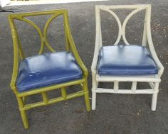 pair of vintage Ficks Reed rattan chairs, shabby chic, too cool
