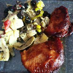 Crockpot honey chicken with Marinated Artichoke Salad. Mealfit.co