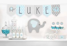 Premium Printable Bunting - Baby Shower Bunting Banner - Elephants - Blue and Grey - Instant Downloa - Home and Garden Decoration Regalo Baby Shower, Baby Shower Bunting, Shower Banners, Boy Baby Shower Themes, Baby Shower Printables, Baby Shower Favors, Baby Shower Gifts, Elephant Bleu, Elephant Theme