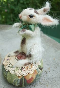 Needlefelted rabbit, OPAL, by Jeri Landers  SOLD