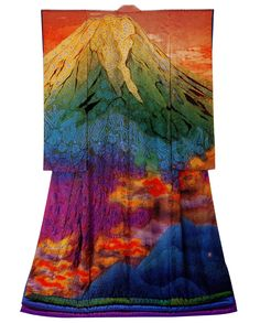 Kimonos as Art:  Ohn - Fuji and Burning Clouds