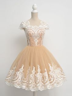 1950s Vintage Dress Prom Dress -Ball Gown Scoop Cap Sleeves with Appliques